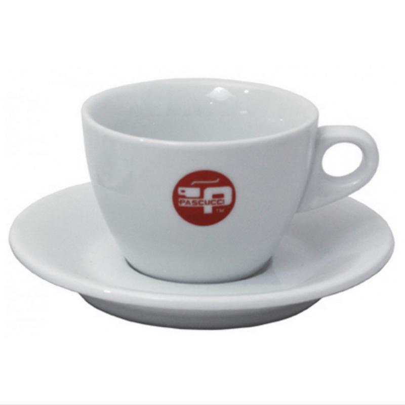 Cappuccino kop en schotels